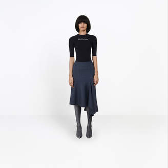 Balenciaga Fine stretch Prince of Wales midi skirt
