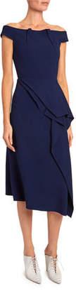 Roland Mouret Arch Off-the-Shoulder Asymmetric Dress
