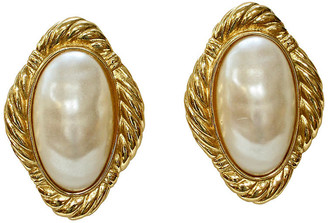 One Kings Lane Vintage Givenchy Oversize Baroque Pearl Earrings - Wisteria Antiques Etc