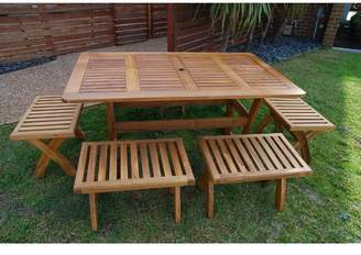 Atlanti 7 Piece Acacia Short Benches Dining Set