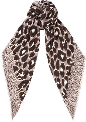 Jimmy Choo JANA H6S073860 Grey Leopard Print Cashmere and Modal Blend Shawl