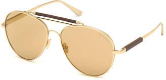 Tom Ford Men's Metal Aviator Sunglasses with Flash Photochromic Lenses