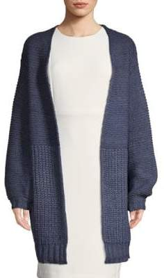 Balloon-Sleeve Open-Front Cardigan