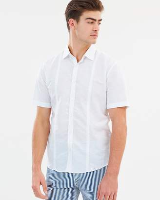 Cerruti Linen Blend Short Sleeve Button-Up