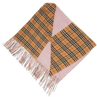Burberry Checked Cashmere Bandana Scarf - Womens - Pink