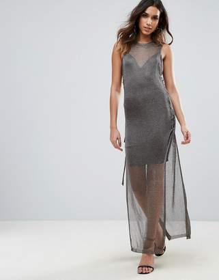 Wow Couture Metallic Crochet Knitted Lace Up Side Maxi Dress