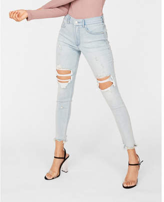Express petite high waisted light wash destroyed denim perfect stretch+ ankle leggings