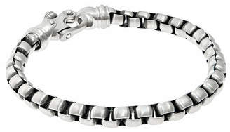 FINE JEWELRY Mens Stainless Steel Round Box Chain Bracelet with Fancy Clasp