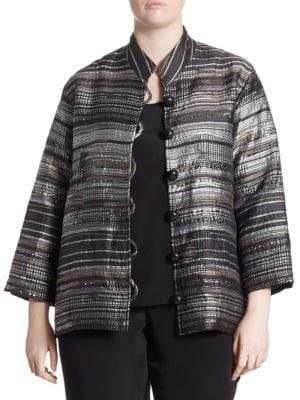 Caroline Rose Plus Metallic Jacquard Jacket