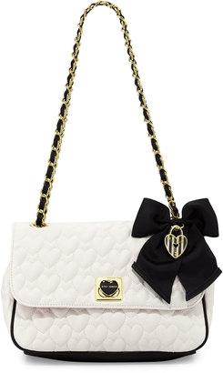 Betsey Johnson Be Mine Quilted Shoulder Bag, Bone/Black $72 thestylecure.com