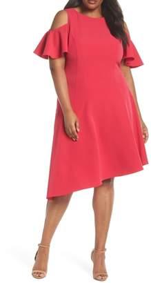 London Times Asymmetrical Cold Shoulder Dress