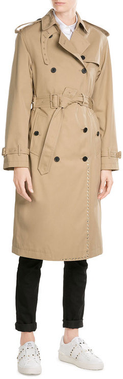 ValentinoValentino Rockstud Trench Coat with Cotton