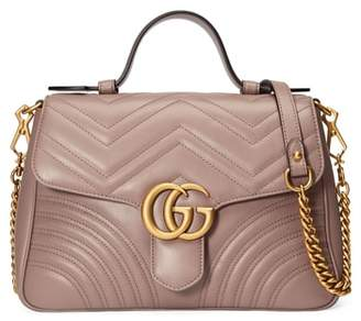 Gucci Small GG Marmont 2.0 Matelasse Leather Top Handle Bag