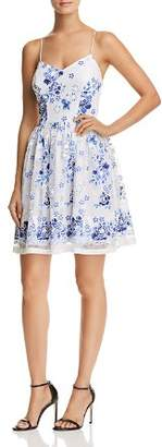 Aqua Floral Print Mesh Fit-and-Flare Dress - 100% Exclusive