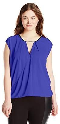 Single Dress Women's Plus Size Flip Front Sleeveless Blouse $12.25 thestylecure.com