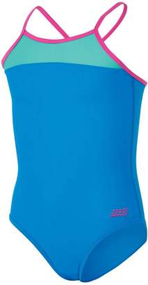 Zoggs Girls Abstract Hi-Front Swimsuit