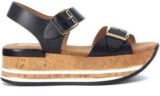 Hogan H354 Black Elather Sandal With Maxi Cork Sole