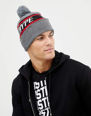 Hype bobble beanie with logo In gray