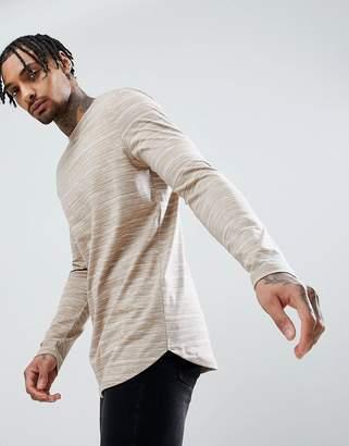 BEIGE Asos Design ASOS Longline Long Sleeve T-Shirt With Curve Hem In Inject