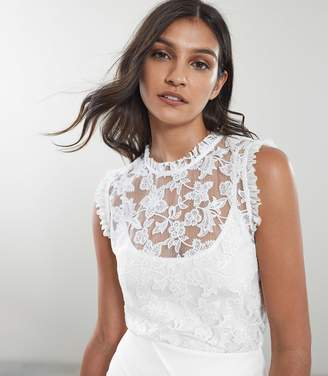 Reiss Marina - Sleeveless Lace Top in Off White