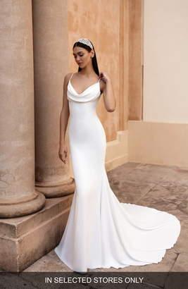 Pronovias Antiope Cowl Neck Crepe Trumpet Wedding Dress