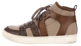 Lanvin Leather-Trimmed High-Top Sneakers
