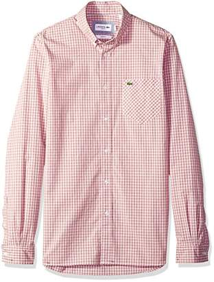 Lacoste Men's Long Sleeve Stretch Poplin Checkered Slim Woven Shirt