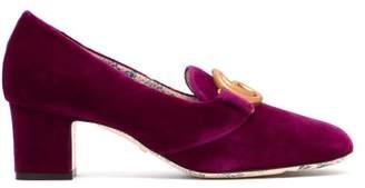 Gucci Victoire Velvet Pumps - Womens - Dark Pink