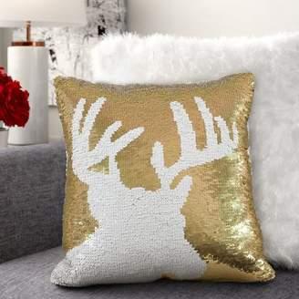 Everly Quinn Alandra Sequin Reindeer Holiday Christmas Throw Pillow