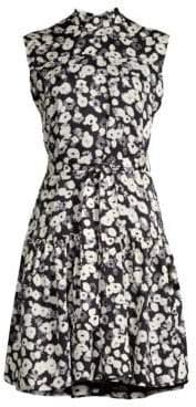 Derek Lam Mockneck Floral Silk Dress