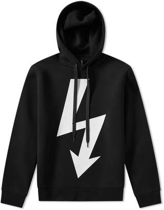 Neil Barrett Large Lightning Bolt Side Zip Hoody