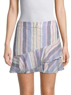 Parker Striped Ruffle Linen Skirt