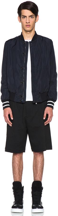 Neil Barrett Skinny Irregular Hem Bomber Jacket in Dark Navy