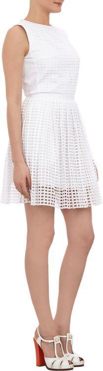 Carven Windowpane Eyelet Dress-White