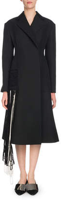 Proenza Schouler Notched-Lapel Self-Belt Yarn-Fringe Wool-Blend Coat