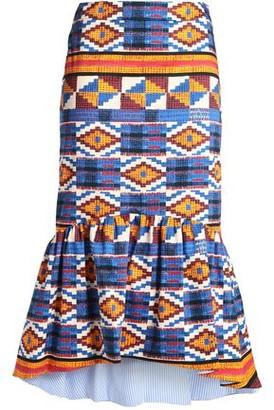 Stella Jean Fluted Printed Cotton-Blend Twill Midi Skirt