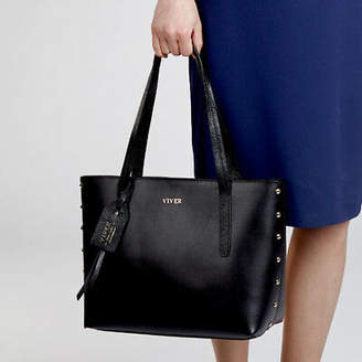 NEW Black Leather Tote Bag For Ladies Women's by VIVER Leather