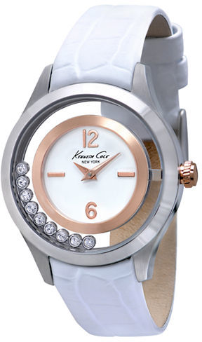 Kenneth Cole NEW YORK Ladies' Two-Tone Crystal & Leather Watch