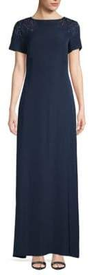 Tadashi Shoji Embellished Short-Sleeve Gown