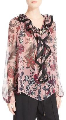 Women's Chloe Floral Print Silk Crepon Blouse $1,550 thestylecure.com