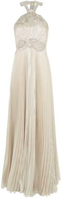 Andrew Gn Embellished Pleated Halterneck Gown
