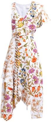 Peter Pilotto Botanical Print Asymmetric Cloque Midi Dress - Womens - White Multi