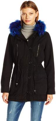 Steve Madden Women's Cotton Anorak with Trimmed Hood
