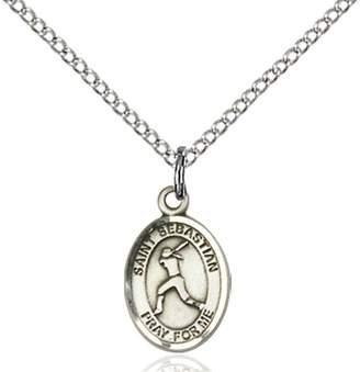 Sebastian Bonyak Jewelry Saint Medal Collection Sterling Silver St. Pendant 1/2 x 1/4 inches with Sterling Silver Lite Curb Chain