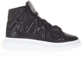 Alexander McQueen Black Leather High Top Sneakers