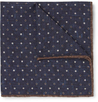 Brunello Cucinelli Reversible Printed Silk and Cotton-Blend Pocket Square - Men - Navy