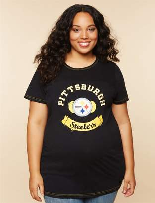 00b2a8bd Motherhood Maternity Plus Size Pittsburgh Steelers NFL Mesh Detail  Maternity Tee