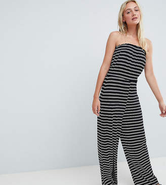 886748a3d60 Asos Tall DESIGN Tall bandeau jersey jumpsuit with wide leg in stripe print