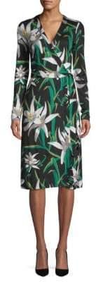 Diane von Furstenberg Floral-Print Stretch-Silk Wrap Dress