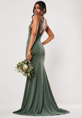 Missguided Bridesmaid Green Sleeveless Low Back Maxi Dress, Green